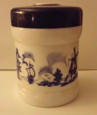 Delft Blue Willem II Opaline Glass Humidor Canister Holland Windmill Seaport