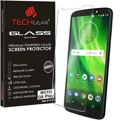 Genuine TECHGEAR TEMPERED GLASS Screen Protector Cover for Motorola Moto G6 Play