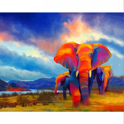 DIY Oil Painting Pain By Numbers Kit on Canvas 40*50 Art Pictures-Color Elephent