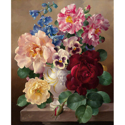 DIY Oil Painting Pain By Numbers Kit on Canvas Wall Art Pictures- Color Flower