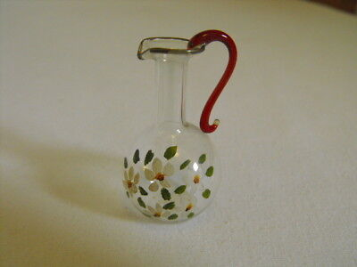 Vintage Hand Blown Handpainted Glass Miniature Pitcher dollhouse tiny Small