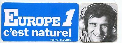 Autocollant Vintage Sticker Europe 1 voiture ancienne Pierre Lescure collection