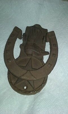 Cast Iron Antique Style RUSTIC COWBOY BOOT Door Knocker Brown Finish Horseshoe