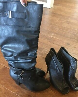8.5 - 9 Size lot of 2 two womens shoes boots night life heels Giannibini Rampage