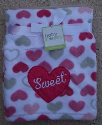 """Baby Starters White Sweet Heart with Pink & Gray Hearts Blanket - 30"""" X 40"""""""