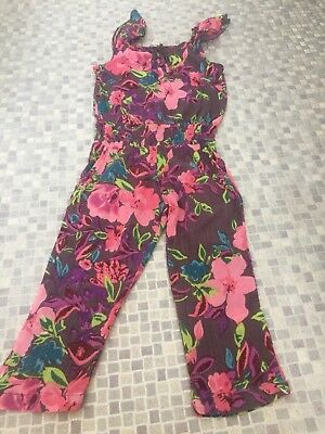 Monsoon Girls Age 5-6 Jumpsuit Grey Pink Floral