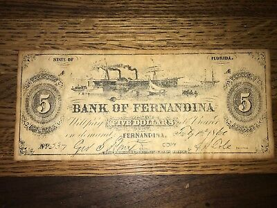 Bank Of Fernandina Five Dollar Promissory Note #537 Dated Feb 1, 1860