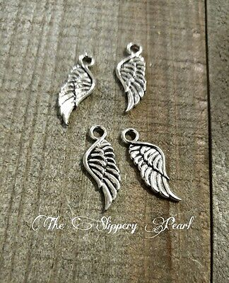 Angel Wing Charms Antique Silver Tone 2 Sided Jewelry Making 21mm 25/50/100