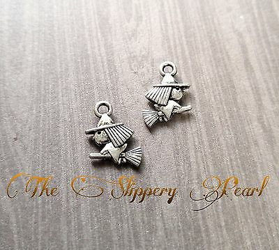 10 Witch Charms Antique Silver Tone Halloween Pendants