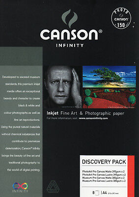 Canson Infinity Canvas Discovery Pack - 8 x Leinwand DinA4 PhotoArt + Museum Pro