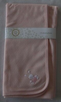 Little Me Girls Pink 2 Ply Receiving Blanket with Bunny in the corner - NWT