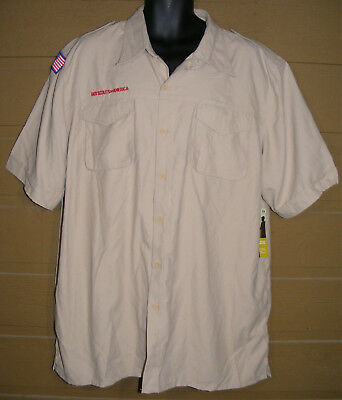 new!! BOY SCOUTS OF AMERICA Uniform Shirt, XL/XXL, Poly, Vented, Short Sleeves