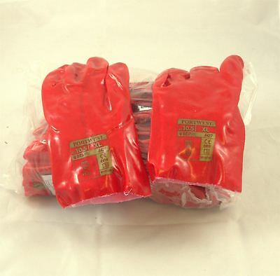 12 Pairs 11'' (27cm) Red PVC Gauntlet Gloves size 10.5 (XL)