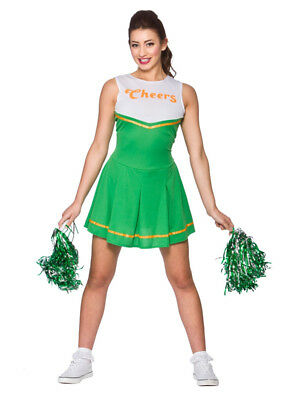 "Ladies ""Cheers"" Cheerleader Green Fancy Dress St Patricks Costume Cheer Leader"