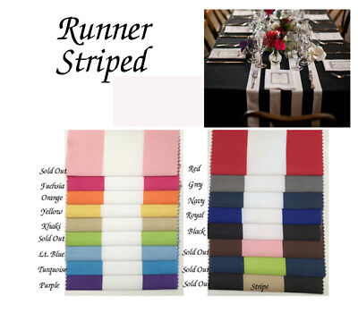 Striped Runner  Black, Navy, Royal, Fuchsia, Yellow, red & more Colors & SIze