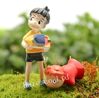 2pcs/Set Ponyo on the Cliff Resin Figures Toy Gardening Home Decor new gift