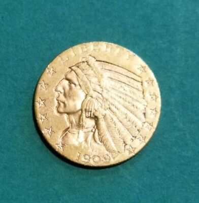 US 1909 D Gold Half Eagle Nice Circulated Condition