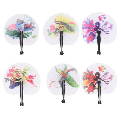 Summer Kids Child Girl Chinese Fan Folding Small Round Paper Hand Fans Pip CA
