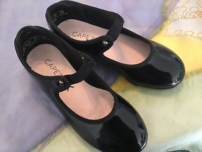 Preowned Capezio Girls Tap Shoes Size 10.5 M Elastic Tie Good Condition