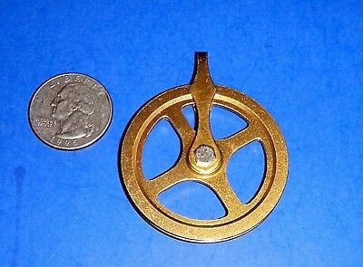"Vintage Brass Grandfather Weight Driven Clock Pulley - 1 3/4"" dia. wheel"