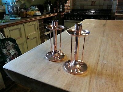 A Rare pair of Arts & Crafts Copper Candle Sticks By Henry Loveridge Circa 1880