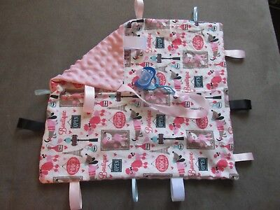 """Hand made Security Tag Blanket Pacifier Binky Holder 18"""" x 16"""" Paris Poodle Girl"""