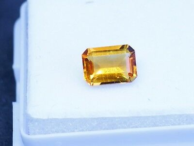 0.88ct Emerald cut Honey Citrine VVS Brazil Untreated Natural 7x5 Gem
