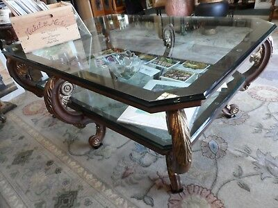 Beautiful Heavy Large Ornate Cast Iron Eight Leg Double Glass Top Coffee Table