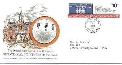 1974 Bicentennial Sterling Silver Commemorative Medal On FDC In Folder