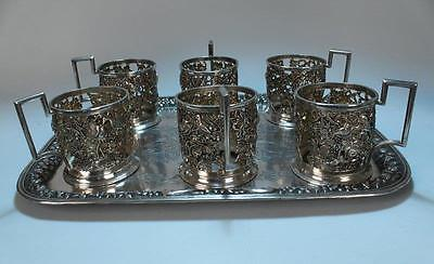 Antique Persian Hand Crafted Repousse Silver Set.