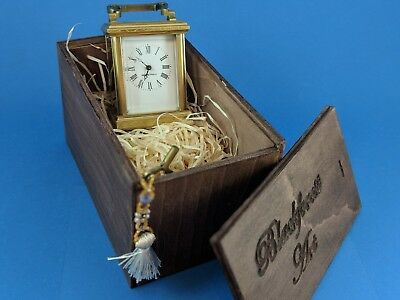 Perfect French mini Anglaise engraved 8 days carriage clock