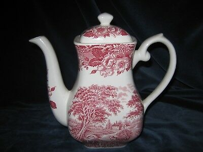 wunderschöne Kaffeekanne von Staffordshire English Ironstone Tableware in rot