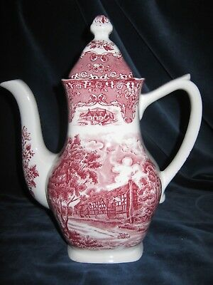 Kaffeekanne English Country Inns Grindley Staffordshire England in rot