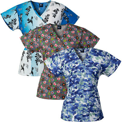 Medgear 3-PACK Womens Fashion Scrub Tops, Mock-Wrap Style with Back Ties