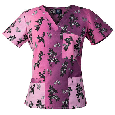 Medgear Womens Fashion Scrubs Top, Printed V-neck with 4-Pockets 1050P-CHBP