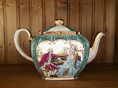 Delightful Vintage Sadler Cube Teapot ~ Courting Couple In Turqouise & Gold