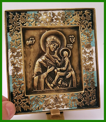 Russian orthodox bronze icon The Virgin of Tikhvin. Enameled