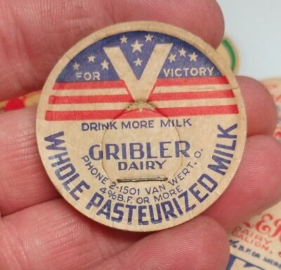 WWII Gribler Dairy Van Wert Ohio bottle milk cap V for Victory