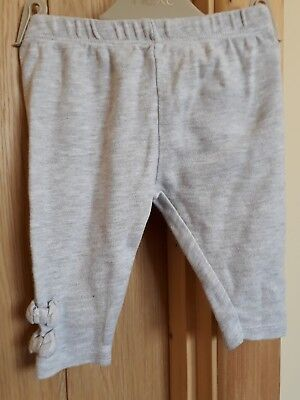 baby girls grey full length cotton leggings with bow detail size  0-3 months