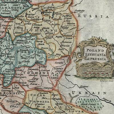 Poland Lithuania c.1765-85 T. Jefferys engraved old map w/ decorative cartouche
