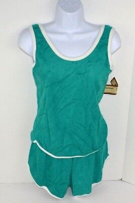 Vtg 1980's Vanderbilt 2pc Terry Cloth Tank Top & Shorts Set, Green Medium NOS