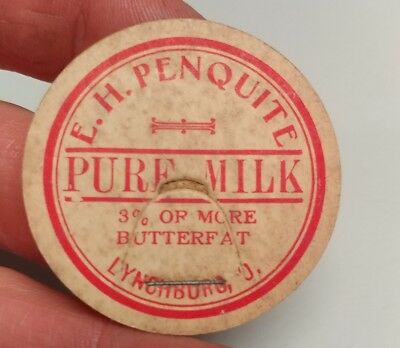 E.H. Penquite Lynchburg Ohio bottle milk cap