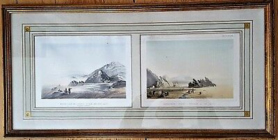 c1850 U.S. Pacific Railroad Survey Framed Double Print Ancient Lake and Desert