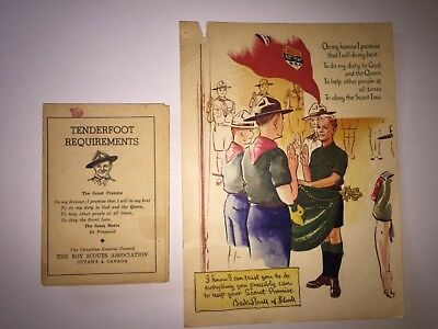 Scouts Canada Tenderfoot Requirements Card and Enrolment Card Pre-1965