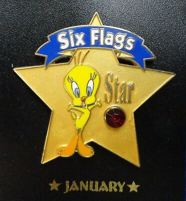Tweety Bird January Birthstone Red Faux Garnet Stone Six Flags WB Cartoon Pin z3