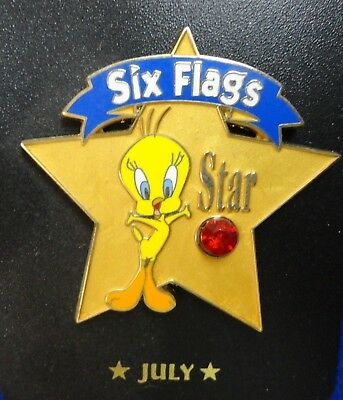 Tweety Bird July Birthstone Bright Red Ruby Stone Six Flags WB Cartoon Lapel Pin