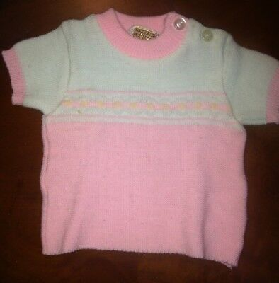 Vintage Novelty Knit 100% Acrylic Pink And White Infant Sweater-0-6 Months
