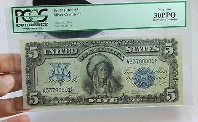 Fr271 1899 $5 Silver Certificate PCGS VERY FINE 30PPQ NOTE THE WOBURN COLLECTION
