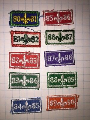 Scouts Canada 1980's Year Bars Date Crests 10 pieces 1980-1990