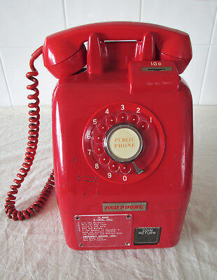 1970's public telephone Victa / Tamura 'Red Phone' 10 cent model 52AUX Payphone